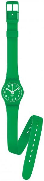 Swatch LG123 Lady Green Original Lady Quarzwerk, grünes Kunststoffgehäuse, ein formschönes grünes Wickelarmband mit Dornschließe, Kunststoffglas, 3 ATM wasserdichtigkeit, Gehäusedurchmesser 25mm mit einer Höhe von 8mm diese und viele weitere Modelle beim