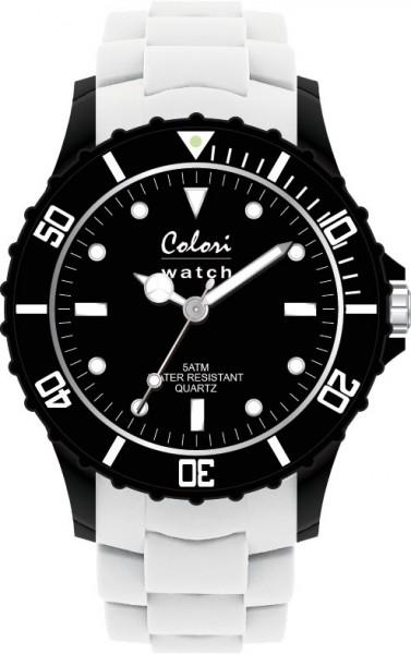 Aus der neuen Super Sports Collection von Colori Watch kommt diese sportliche  Quarzwerkuhr, mit tollem Kuststoffgehäuse ( Ø ca.36mm) in schwarz und kratzunempfindlichem Mineralglas, desweiteren besitzt die Uhr ein butterweiches und angenehmes Silikonba