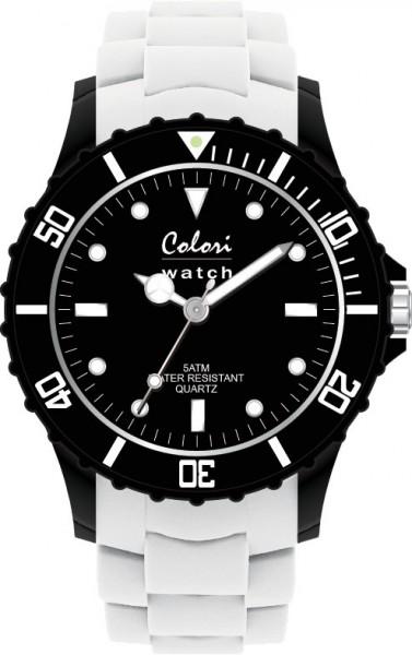 Aus der neuen Super Sports Collection von Colori Watch kommt diese sportliche  Quarzwerkuhr, mit tollem Kuststoffgehäuse ( Ø ca.44mm) in schwarz und kratzunempfindlichem Mineralglas, desweiteren besitzt die Uhr ein butterweiches und angenehmes Silikonba