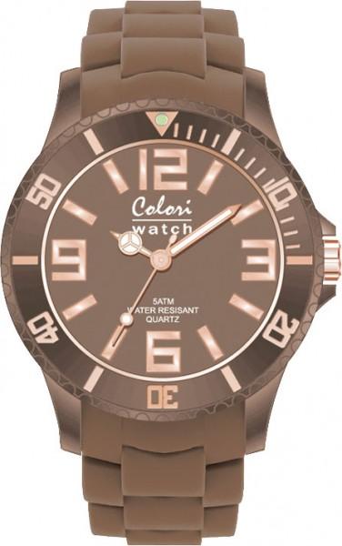 Bunte Uhren von Colori, eine absolut trendige Quarzwerk Uhr mit braunem Ziffernblatt. Die Uhr hat ein Kratzunempfindliches Mineralglas, desweiteren besitzt die Uhr ein kunststoffgehäuse und ein butterweiches und angenehmes braunes Silikonband . Die Lünett
