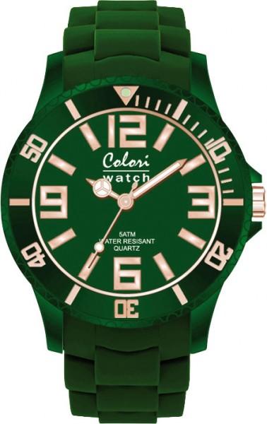 Bunte Uhren von Colori, eine absolut trendige Quarzwerk Uhr mit smaragdgrünem Ziffernblatt. Die Uhr hat ein kratzunempfindliches Mineralglas, desweiteren besitzt die Uhr ein Kunststoffgehäuse und ein butterweiches und angenehmes smaragdgrünes Silikonband
