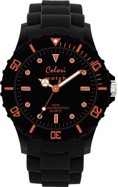 Aus der neuen Neon Nights Collection von Colori Watch kommt diese stylische Quarzwerkuhr mit  tollem Kunststoffgehäuse in schwarz, einem kratzunempfindlichem Mineralglas und einem butterweichen und angenehmen schwarzen Silikonband. Die Lünette und das Z