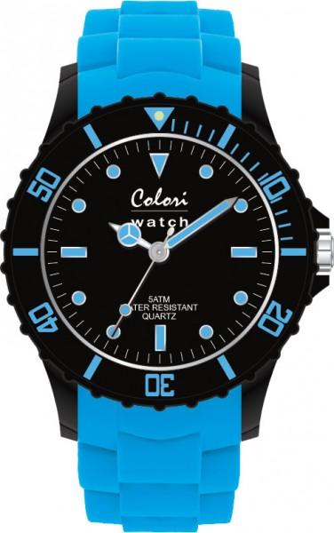 Aus der neuen Super Sports Collection von Colori Watch kommt diese sportliche  Quarzwerkuhr, mit tollem Kuststoffgehäuse ( Ø ca. 40mm) in schwarz und kratzunempfindlichem Mineralglas, desweiteren besitzt die Uhr ein butterweiches und angenehmes Silikonb