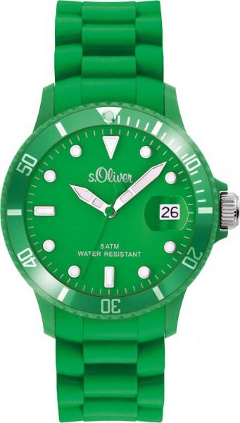 s.Oliver  Silikon Unisex Uhr Modell Nr. SO-2580-PQ  Trendige und stylische Armbanduhr mit angesagtem farbenfrohem Silikonband.  Absolut modische S.Oliver Silikon Unisex Uhr in stylischem grün  (Gehäuse, Ziffernblatt und  Armband). Sehr angenehmes und ansc