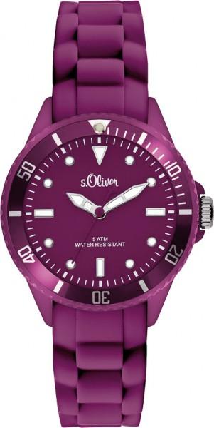 s.Oliver Unisex Silikonbanduhr Modell Nr. SO-2572-PQ  Diese trendige Unisex Silikonbanduhr in violett aus der s.Oliver SMALL ONES Collection ist ein absoluter Hingucker. Erhältlich in vielen verschiedenen Farben. Für optimale Ablesbarkeit auch im Dunkel