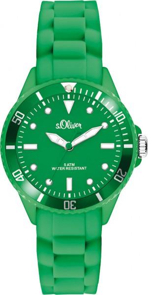 s.Oliver Unisex Silikonbanduhr Modell Nr. SO-2569-PQ  Diese trendige Unisex Silikonbanduhr in grün aus der s.Oliver SMALL ONES Collection ist ein absoluter Hingucker. Erhältlich in vielen verschiedenen Farben. Für optimale Ablesbarkeit auch im Dunkeln s