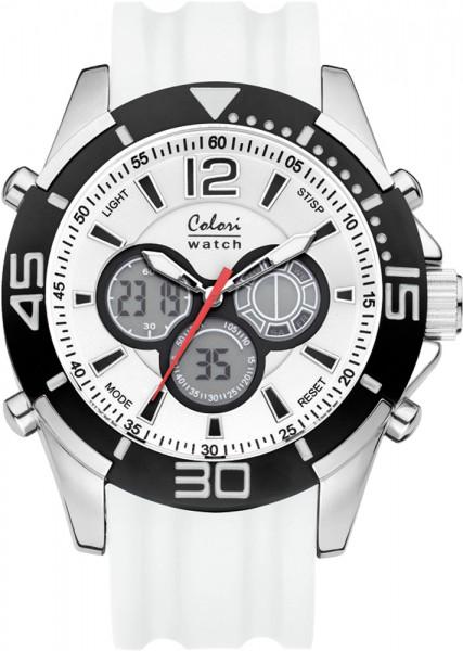 Colori Watch XXL weiß Silikonuhren Ø 4...