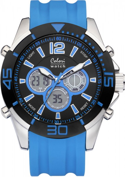 Colori Watch XXL hellblau Silikonuhren Ø 48mm
