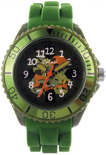 Colori Kids Watch mit Quarz Werk 5-CLK009, 5 ATM. Unsere neue Kinderuhren Collection ist da…  eine Colori mit Butterweichem Army grünem Silikonband, und Kunststoffgehäuse Ø 30mm mit Kunststoffglas, mit bunten Ziffern für ein genaues ablesen der Uhrzeit