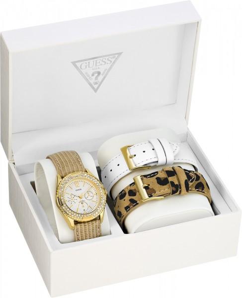 Guess Uhr W16574L1 Rocky Candy Box-Set, 1 Uhr mit zwei tollen austauschbaren Lederbändern, sommerlich weiß und schwarz/braunem Leoparden Look, Edelstahlgehäuse PVD Gold mit Kristallen, elegantes, gold schimmerndes Lederband mit Prägung  Mulitfunktion, Dat