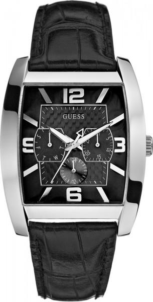 Guess Power Broker  Uhr W80009G1 das ausgefallene Edelstahlgehäuse ist silber poliert, schwarzes, wasserfestes Echtlederband mit eleganter Krokoprägung seitlicher Steppnaht, Multifunktion: Datumanzeige, Tagesanzeige, Wochenananzeige, das schwarze Zif
