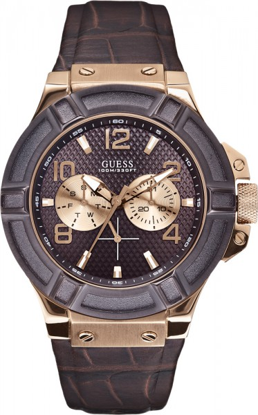 Guess Uhr Rigor W0040G3 hochwertiges Edelstahlgehäuse roségold poliert und gebürstet PVD, mit bronzefarbener Lünette, das hochwertige braunes Lederband mit Krokoprägung sorgt für angenehmen Tragekomfort, verschraubte Krone, verschraubter Boden, braunes Zi
