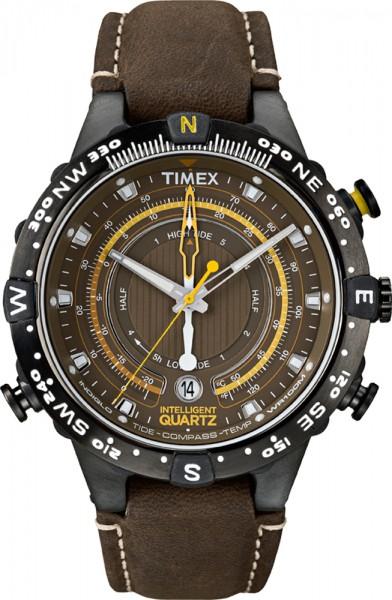 Timex Herrenuhr Intelligent Quarz IQ Modell T2P141 Tide Temp Compass mit dunkelbraunem Lederband  Wieder eine markante Herrenuhr mit vielen Details und tollen Funktionen, Temperaturanzeige, Gezeiten, Kompass…. Die gelben Akzente auf dem braunen Zifferbl
