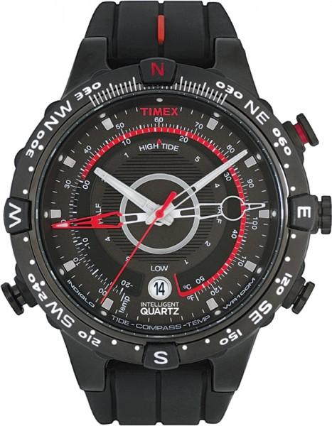 Timex Herrenuhr Intelligenz Quarz IQ Modell T2N720 Tide Temp Compass mit schwarzem Silikonband  Noch eine markante Herrenuhr mit vielen Details und tollen Funktionen, Temperaturanzeige, Gezeiten, Kompass…. Die roten Akzente auf dem 4. Zeiger, z. b. dem