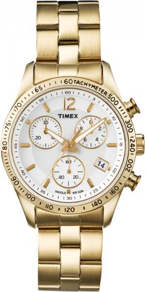 Timex Women's Chrono Damenchronograph Model T2P058 Gold-Optik