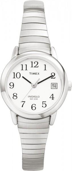 Timex Damenuhr Model  T2H371 Easy Reader silbern 25 mm Durchmesser  Das Model für zarte Handgelenke, ein präzises Quarzwerk sorgt für genaue Zeitangabe, das silberne hochwertige Edelstahlflexband schmiegt sich elegant um Ihr Gelenk. Klein und fein, elegan