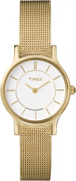 Timex Timex  Ladies Classic Slim Profile Modell: T2P168 goldfarben mit weißem Zifferblatt  Die dritte Slim Profile aus dieser Serie: mit weißem Zifferblatt, genaues Quarzwerk mit nur 6 mm Höhe des Edelstahlgehäuses in golden, poliert, extra slim vergoldet