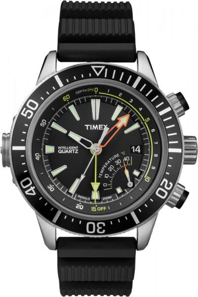 Timex  Herrenuhr Intelligent Quarz IQ Adventure Modell T2N810 Depth Gauge mit schwarzem Band  Für alle Taucher das präzise Quarzwerk, mit korrisionsbeständigem Edelstahlgehäuse, die analoge Tiefenanzeige bis 60 m, Druck- und Temperaturanzeige, das ultimat
