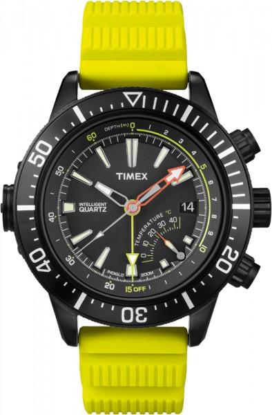 Timex Herrenuhr Intelligent Quarz IQ Adventure  Modell T2N958 Depth Gauge mit neongelben Band   Für alle Taucher das präzise Quarzwerk, mit korrisionsbeständigem Edelstahlgehäuse, verschraubter Krone, Druck- und Temperaturanzeige, das ultimative Werkzeug