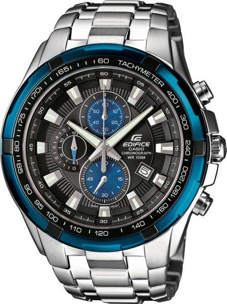 Casio EDIFICE EF-539D-1A2VEF Chronograph Herrenuhr Edelstahl blaue Highlights