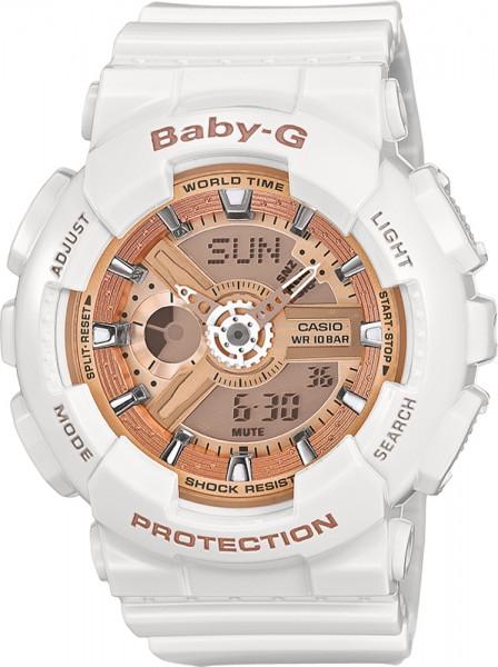 BA-110-7A1ER  Baby-G weiß mit roseegold...