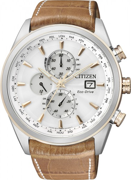 Citizen Uhr AT8017-08A ECO DRIVE Funkuhr Herren Chrono hellbraunes Echtlederband Kroko Optik