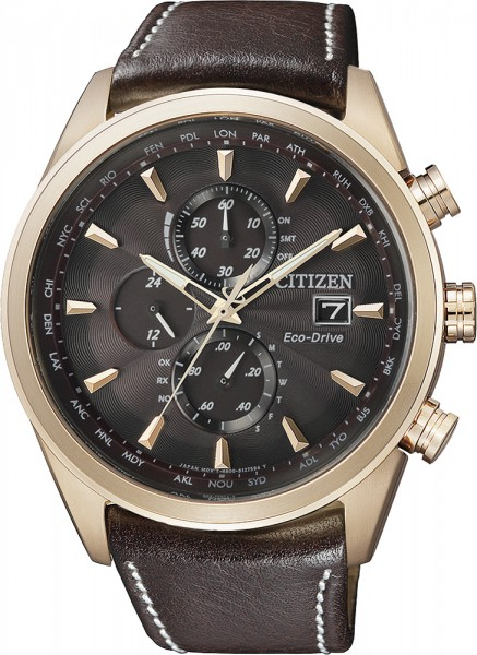 Citizen Uhr AT8019-02W ECO DRIVE Herren Chrono Gold plattiert braunes Echtlederband