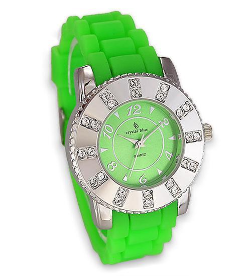 Trendige Uhr von Chrystal Blue mit neon grünem Silikonband 36 mm Durchmesser