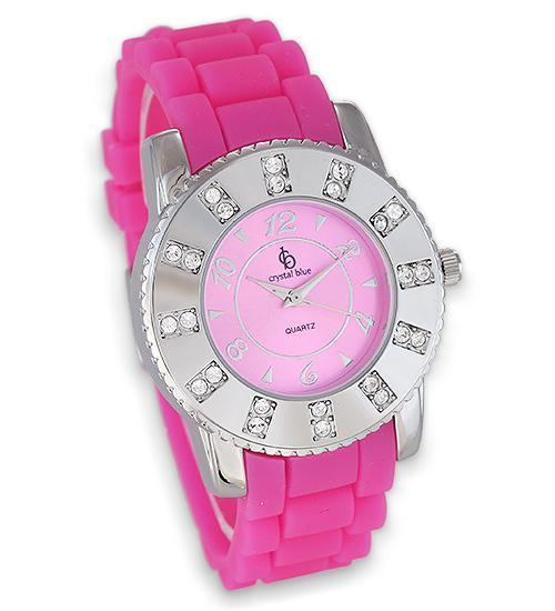 Trendige Uhr von Chrystal Blue mit neon pinkem Silikonband 36 mm Durchmesser