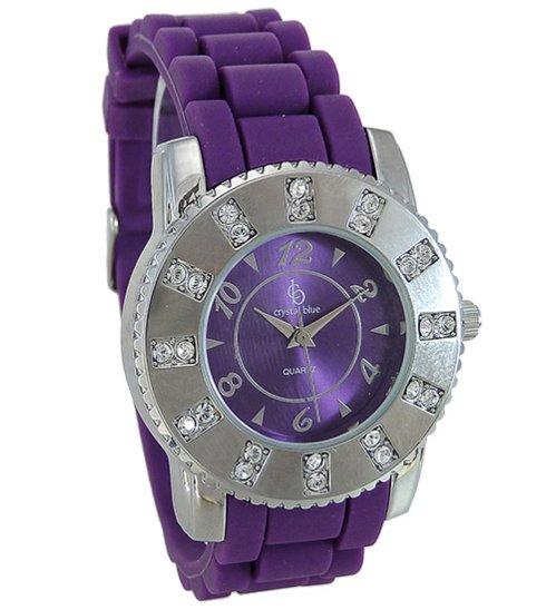 Trendige Uhr von Chrystal Blue mit viole...