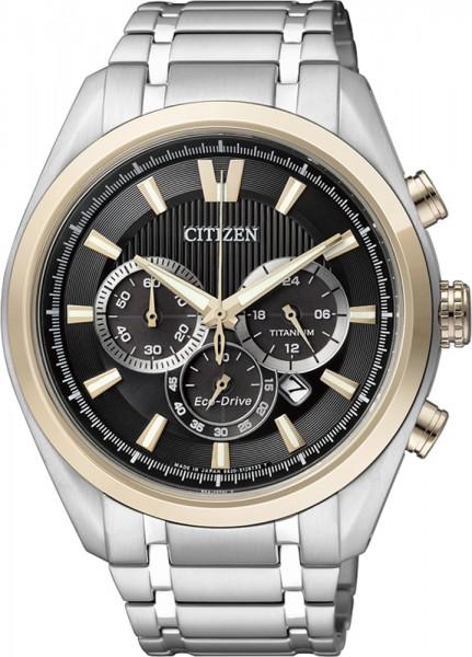 Citizen CA4014-57E Uhr ECO Drive Supertitanium Bicolor mit schwarzem Zifferblatt Durchmesser 43 mm