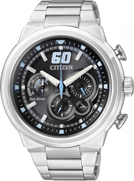 Citizen CA4130-56EECO Drive Uhr sportliche Herrenuhr mit blauem Sekundenzeiger Durchmeser 45 mm