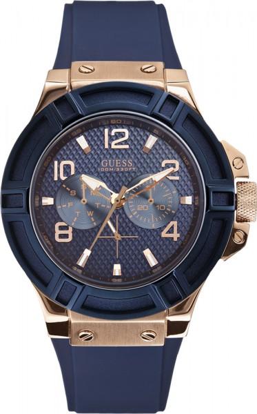 Guess Herren Uhr W0247G3 blau roseegold Multifunktion mit 45 mm Durchmesser 10 ATM
