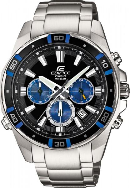 Casio EFR-534D-1A2VEF Uhr EDIFICE Classic Herrenuhr schwarzes Zifferblatt blaue Elemente 178 Gramm
