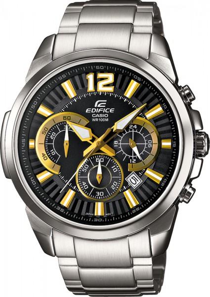 Casio EFR-535D-1A9VUEF Uhr kühles Edelstahl schwarzes Zifferblatt goldene Zeiger und Indizes 155 Gramm