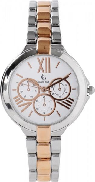 Crystal Blue Uhr aus MetallGehausedurchmesser 35mm,ziffernblatt weiss mit roségoldfarbenen Ziffern,Chro-nografoptik, Armband tlw.rosévergoldet