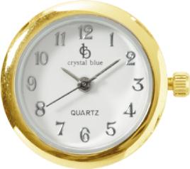 Crystal Blue Butt-On Uhr Drucknopf Uhr gelbvergoldung