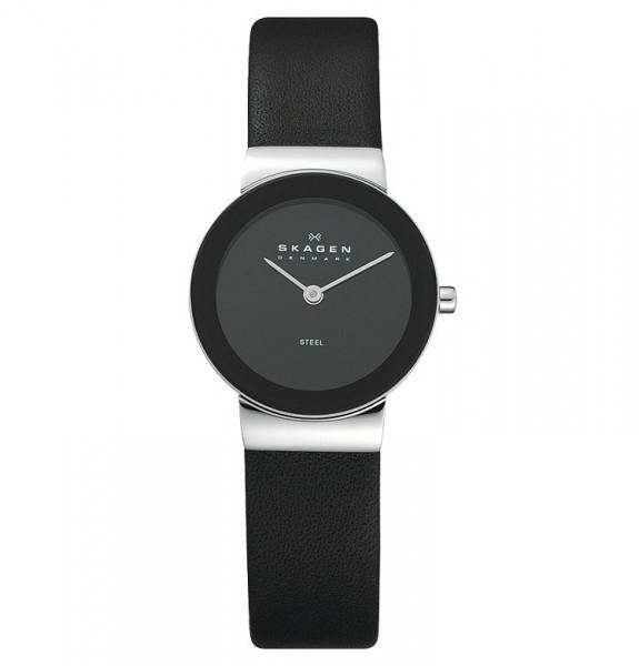 Skagen Uhr 358SSLB schwarz Leder Slimline