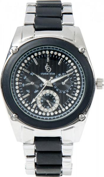 Crystal Blue Uhr aus Edelstahl, Quarzwerk