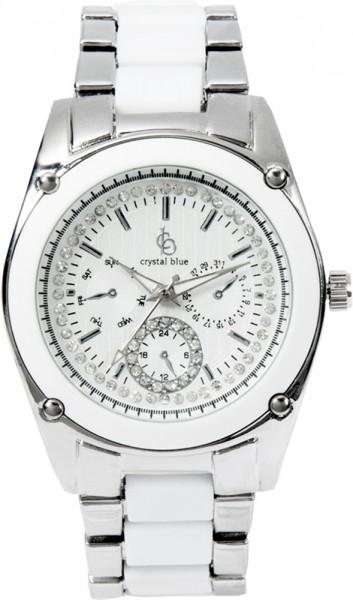 Crystal Blue Uhr aus Edel-stahl,Gehäuse weiss plastikGehäusedurchmesser 38mm, Ziffernblatt weiss, Armbandedelstahl mit weissemPlastik
