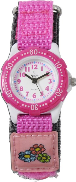Crystal Blue Uhr Kinderuhr pink mit Klettverschluss, vor Spritzwasser geschützt