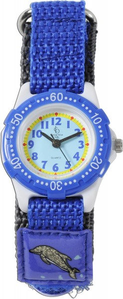 Crystal Blue Uhr Kinderuhr mit blauen Delfinen, mit Klettverschluss, ist spritzwasser geschützt