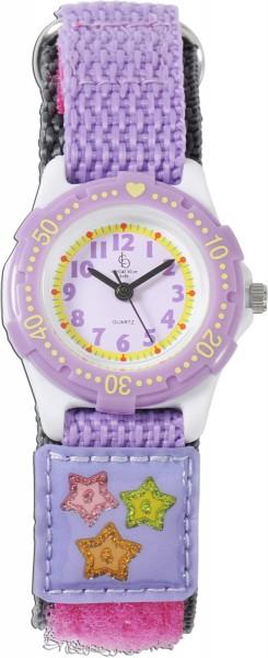Crystal Blue Uhr Kinderuhr Pink lila  Klettverschluss Spritzwasser geschützt
