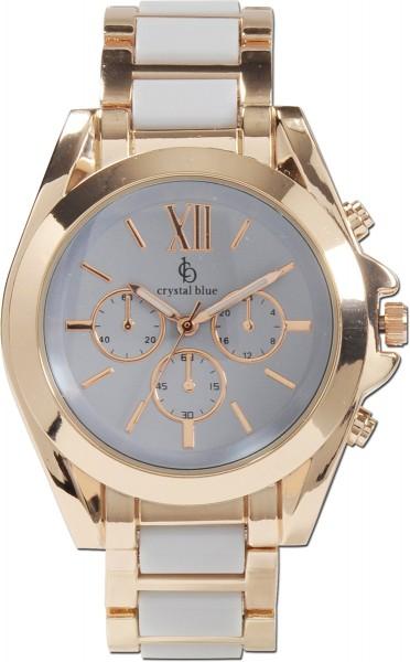 Crystal Blue Uhr aus Metallrose vergoldet mit blauenZwischenteilen, gehäuse drm42mm, bandbreite 20mm,quarzwerk, chronooptik
