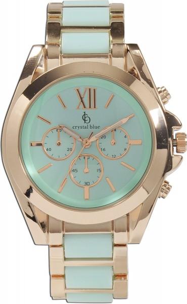 Crystal Blue Uhr aus Metallrose vergoldet mit TürkisZwischenteile, gehäusedrm42mm, bandbreite 20mm,quarzwerk, chronooptik