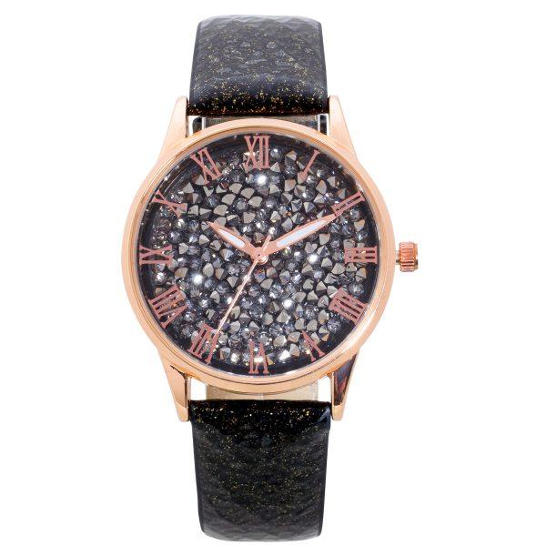 Uhr Damenuhr schwarz glitzer Lederband Rosegold vergoldet Kristalle Quarz Crystal Blue