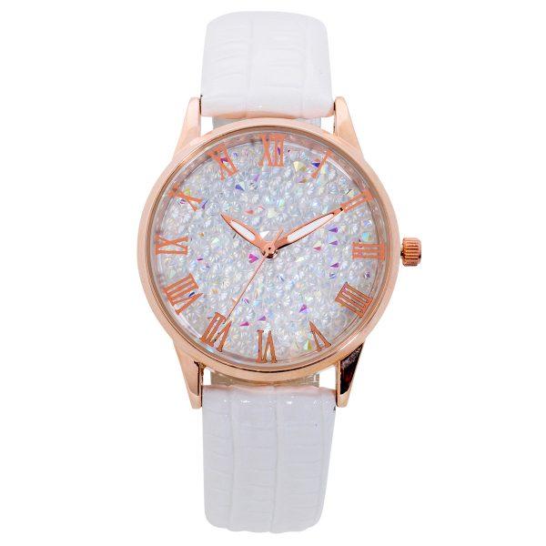 Uhr – Damenuhr weiß Kristalle Qua...