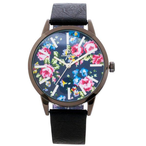 Uhr Crystal Blue schwarzes Kunstleder Te...