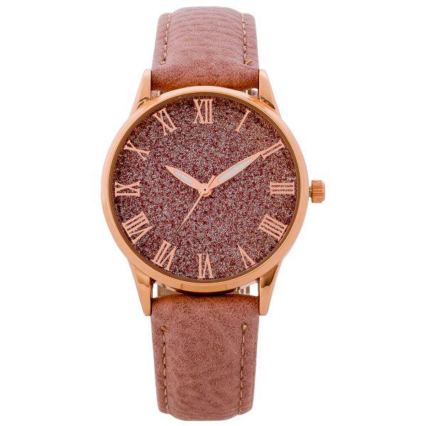 Uhr – Armbanduhren rosa Kunstleder Glitzerziffernblatt 35mm