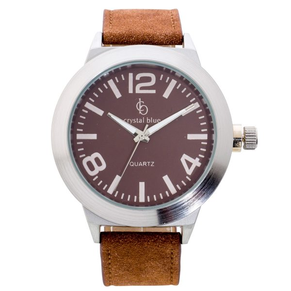 Uhr Crystal Blue Metall silber braunes Kunstleder Armband braunes Ziffernblatt Quarzlaufwerk